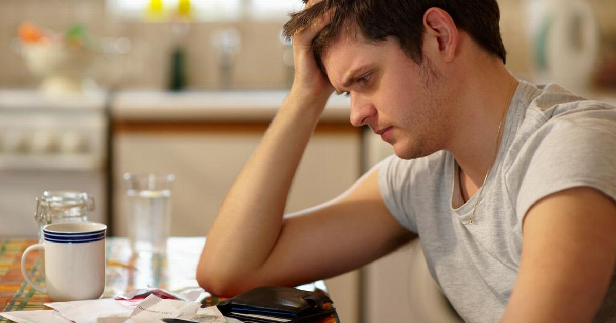 Worried man with debt problems
